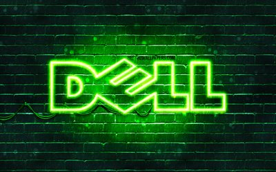 Dell green logo, 4k, green brickwall, Dell logo, brands, Dell neon logo, Dell