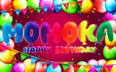 Happy Birthday Momoka, 4k, colorful balloon frame, female names, Momoka name, purple background, Momoka Happy Birthday, Momoka Birthday, creative, Birthday concept, Momoka