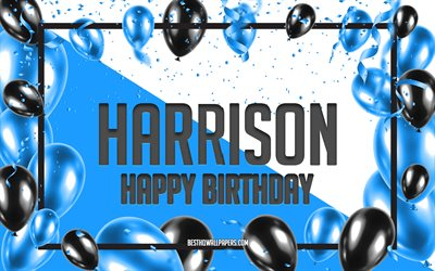 Happy Birthday Harrison, Birthday Balloons Background, Harrison, wallpapers with names, Harrison Happy Birthday, Blue Balloons Birthday Background, greeting card, Harrison Birthday