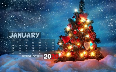 January 2020 Calendar, 4k, xmas tree, 2020 calendar, christmas eve, January 2020, creative, christmas tree, January 2020 calendar with xmas tree, Calendar January 2020, blue background, 2020 calendars