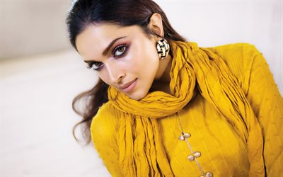 Deepika Padukone, portrait, yellow indian dress, photoshoot, indian actress, indian fashion model, beautiful makeup