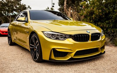 BMW M4, exterior, front view, golden sports coupe, golden M4, tuning M4, German sports cars, BMW