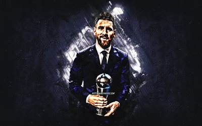 Lionel Messi, Argentine footballer, The Best FIFA Mens Player 2019, Messi with a cup, portrait, purple stone background