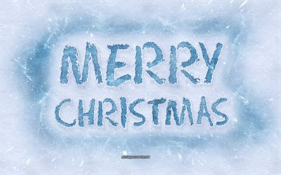 Merry Christmas, inscription on snow, ice letters, winter concepts, snow, winter art, Christmas