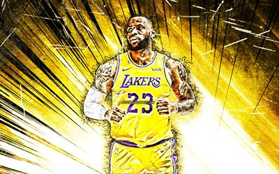 LeBron James, NBA, yellow abstract rays, Los Angeles Lakers, basketball stars, LeBron Raymone James Sr, grunge art, basketball, LA Lakers, creative, LeBron James Lakers