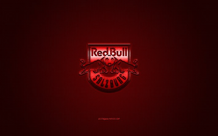 FC Salzburg, Austrian football club, Austrian Bundesliga, red logo, red carbon fiber background, football, Salzburg, Austria, FC Salzburg logo