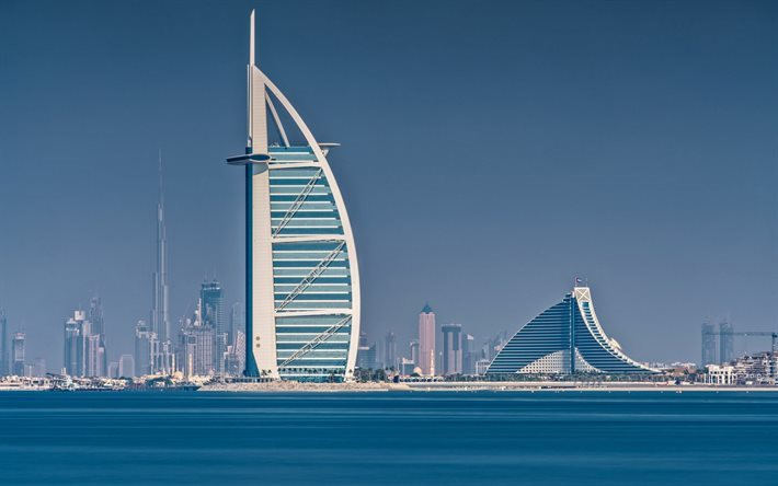 Download Wallpapers Burj Al Arab, Hotel, Dubai, Burj