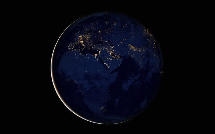 Earth at night, space, city lights, Eurasia, planet, Africa, Earth