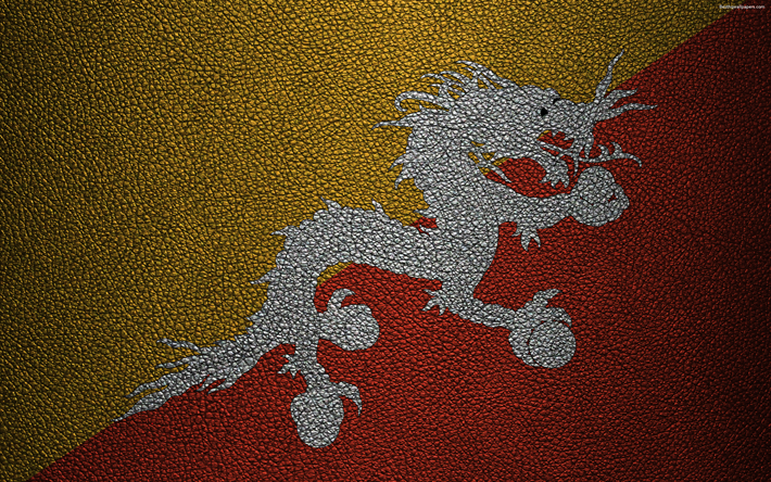 Download wallpapers Flag of Bhutan, 4K, leather texture