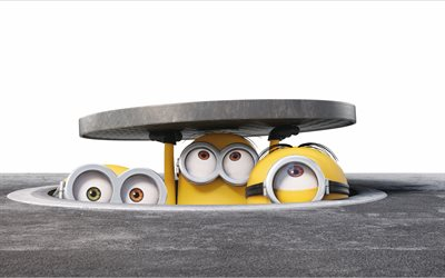 Minions, 4k, sewerage, Despicable Me, 3D-animation