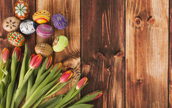 download wallpapers easter  spring flowers  pink tulips  easter decoration  painted easter eggs