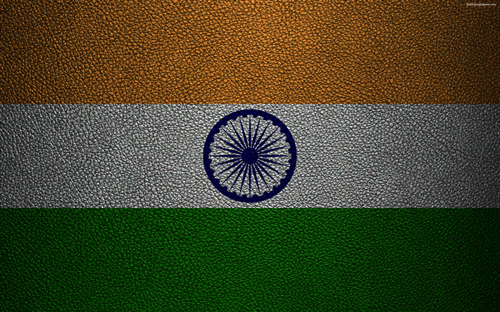 Flag of India, 4k, leather texture, Indian flag, Asia, world flags, India