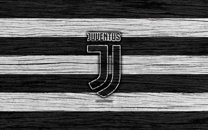 Download wallpapers Juventus, 4k, Serie A, new logo, Italy, wooden texture, FC Juventus, soccer