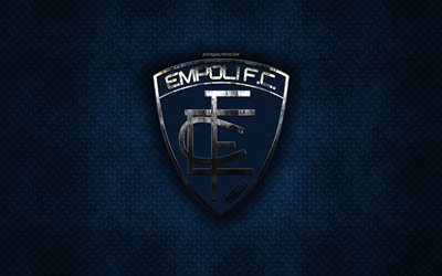 Empoli FC, Italian football club, blue metal texture, metal logo, emblem, Empoli, Italy, Serie A, creative art, football