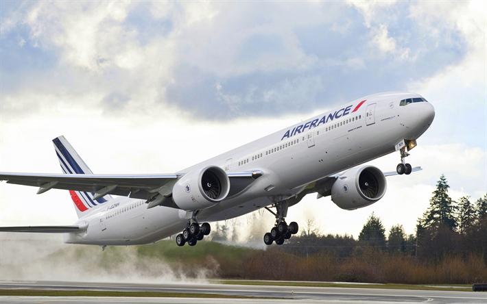 Boeing 777, Air France, passenger plane, french airlines, France, air travel, airplane takeoff, Boeing 777-300ER
