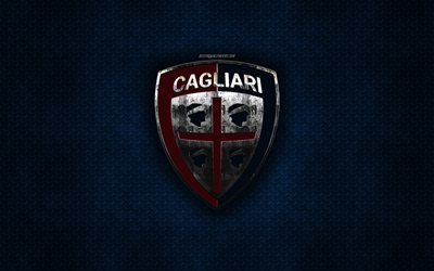 Cagliari Calcio, Italian football club, blue metal texture, metal logo, emblem, Caliari, Italy, Serie A, creative art, football