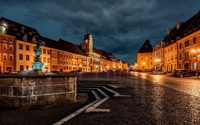 Karlovy Vary, evening, fountain, square, sunset, chapel, landmark, Czech Republic