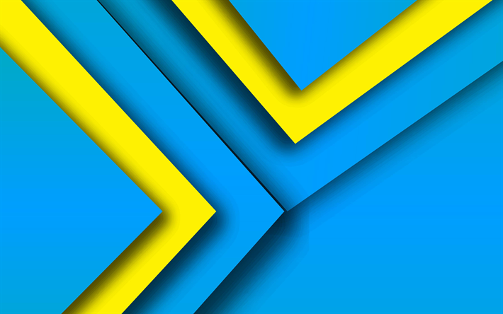 4k, material design, colorful lines, blue and yellow, geometric shapes, lollipop, triangles, creative, strips, geometry, blue background
