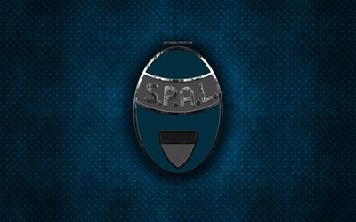 SPAL, Italian football club, blue metal texture, metal logo, emblem, Ferrara, Italy, Serie A, creative art, football
