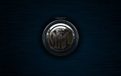 FC Internazionale, Italian football club, blue metal texture, Inter Milan FC, metal logo, Nerazzurri, emblem, Milan, Italy, Serie A, creative art, football