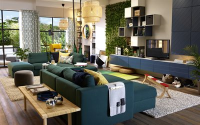 modern living room design, grass on the wall, stylish design, living room, creative round lamps