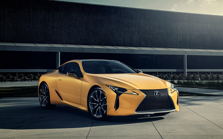 Download Wallpapers Lexus Lc500 2019 Yellow Sports Coupe Exterior