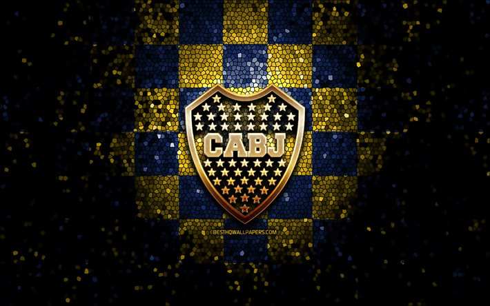 Download wallpapers Boca Juniors FC, glitter logo, Argentine Primera  Division, blue yellow checkered background, soccer, argentinian football  club, Boca Juniors logo, CABJ, mosaic art, CA Boca Juniors, football, Club  Atletico Boca Juniors