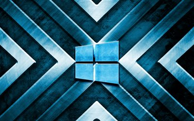 Windows 10 metal logo, 4K, blue metal background, OS, metal arrows, Windows 10 logo, creative, Windows 10 blue logo, Windows 10
