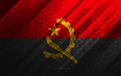 Flag of Angola, multicolored abstraction, Angola mosaic flag, Angola, mosaic art, Angola flag