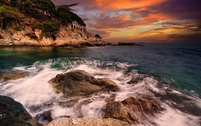 Costa Brava, Balearic Sea, coast, evening, sunset, seascape, Catalonia, Spain