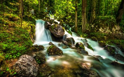 waterfall, forest, mountain stream, beautiful waterfall, Alps, Bavaria, Germany