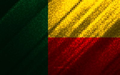 Flag of Benin, multicolored abstraction, Benin mosaic flag, Benin, mosaic art, Benin flag