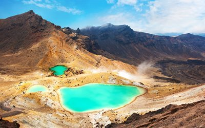 Tongariro National Park, lakes, mountains, Tongariro Alpine Crossing, New Zealand
