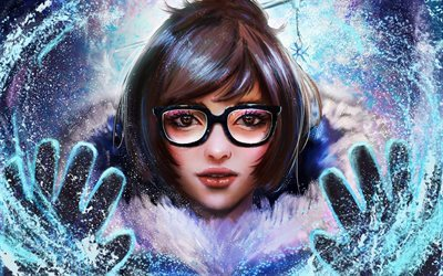 Mei, portrait, hiver, MMOFPS, Overwatch