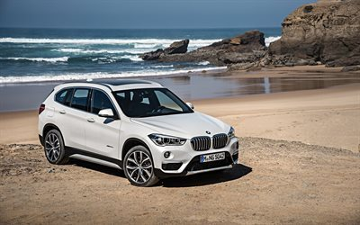 bmw x1, 2016, xDrive, bmw F48, xLine, White x1, crossover, coast, BMW