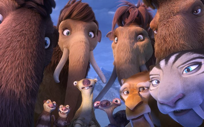Ice Age 5, 2016, Collision Course, marsupial, Queen Latifah, mammoth, saber-toothed tiger
