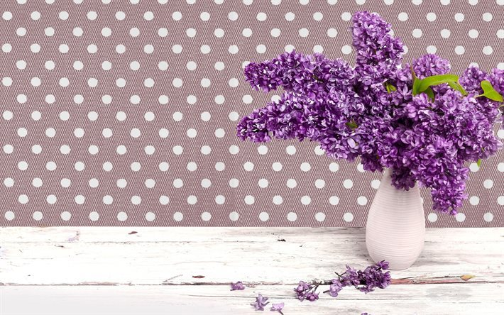 Lilac, spring, branch of lilac, spring flowers, a vase
