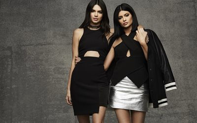 Kendall Jenner, Kylie Jenner, sisters, photoshoot, American models, beautiful black dresses