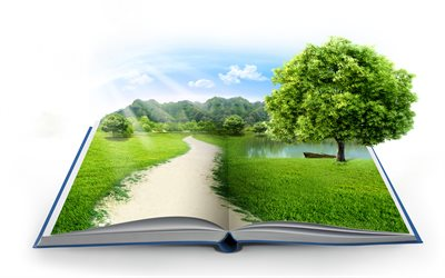 ecology concepts, 4k, green book, environment, green grass, mountains, take care of nature, eco concepts with a book