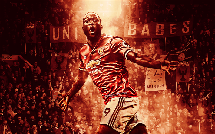 Download Wallpapers Romelu Lukaku Old Trafford Manchester