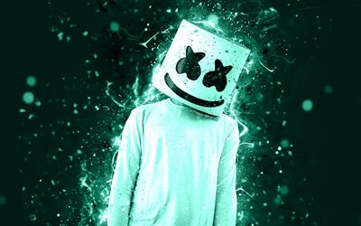Christopher Comstock, 4k, DJ Marshmello, turquoise neon, american DJ, Marshmello 4k, artwork, fan art, creative, Marshmello DJ, superstars, Marshmello, DJs
