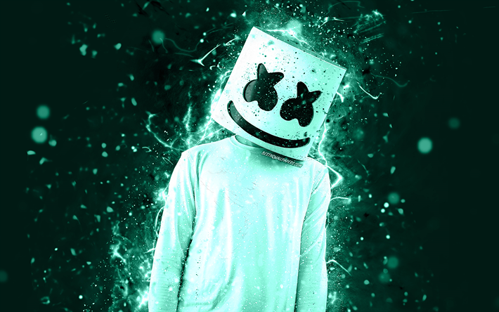 Christopher Comstock, 4k, DJ Marshmello, turquoise néon, american DJ, Marshmello 4k, œuvres d'art, fan art, créatif, Marshmello DJ, superstars, Marshmello, DJs