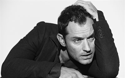 Jude Law, British actor, portrait, monochrome