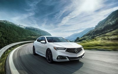 Acura TLX, A-Spec, 2018, Sports kit, new Acura, white TLX, Japanese cars, Acura