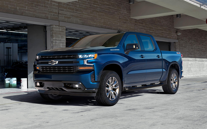 Download wallpapers Chevrolet Silverado, 2019, 4k, pickup truck, new blue Silverado, exterior ...