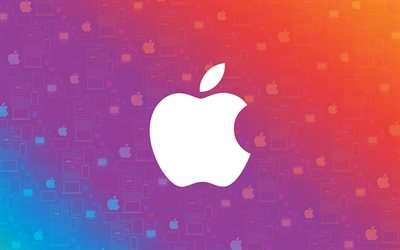 Apple logo, 4k, colorful background, creative, Apple