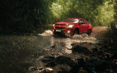 Chevrolet Colorado, 2019, front view, new red Colorado, pick-up, off-road, water ride, Chevrolet