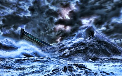 sinking boat, huge waves, storm, element, boat, sea