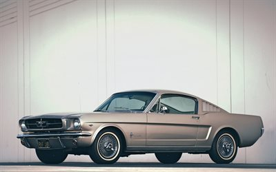 ford mustang, parkplatz, 1967 autos, retro-autos, muscle-cars, 1967 ford mustang, amerikanische autos, ford