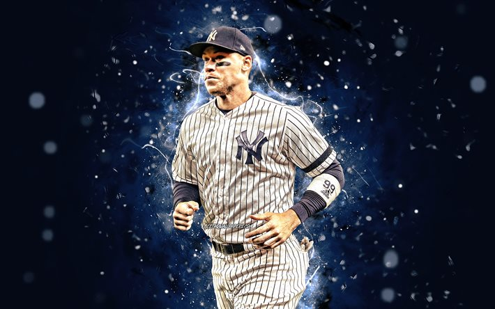 Download Wallpapers Aaron Judge 4k Mlb New York Yankees Outfielder Baseball Aaron James Judge Major League Baseball Neon Lights Aaron Judge New York Yankees Aaron Judge 4k Ny Yankees For Desktop Free